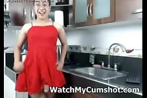 Big cock tgirl stroking respecting red dress