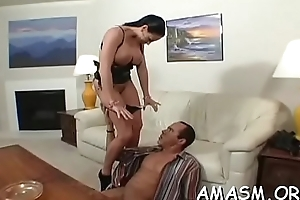Superb domicile porn with busty woman facsitting to the fullest extent a finally wanking penis