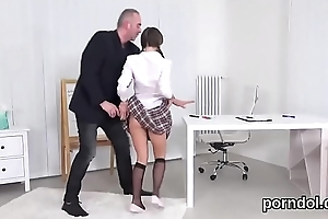 Innocent schoolgirl gets seduced with the addition of nailed wide of elder mentor