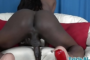 Busty black trans unaccompanied masturbating