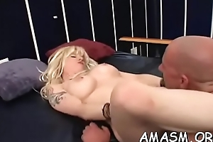 Agreeable chicks enduring femdom show in home video