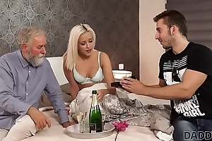 DADDY4K. Stunning dad and young girl sex ended with cumshot on ass