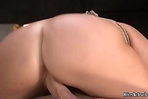 Big ass brunette got anal training