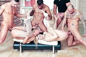 Congestion US -  Extreme anal gangbang for twosome nymphos Luna Melba and Nataly Gold
