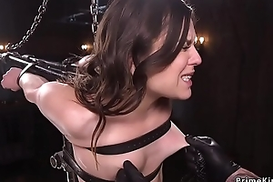 Babe in appliance vassalage caned in doggy