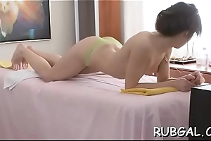 Skinny nymph needs a self-satisfied and depraved massage session