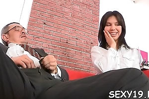 Flirt is charming teacher'_s cock with zealous blowjob