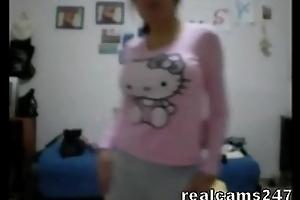 Teen with big scones on web camera