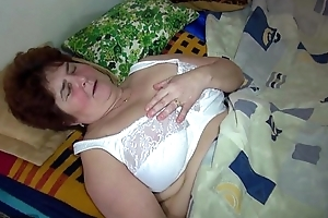 Oldnanny old chunky grandma and cute BBC floozy use large double sex tool