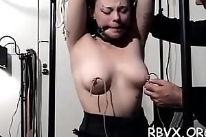 Shy cutie gets tied nearby increased by manhandled about bondage scene